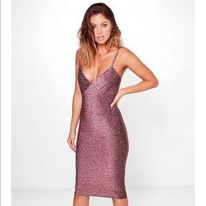 boohoo pink dress